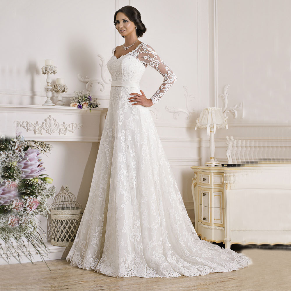 2016 A Line Elegant V Neck Appliques White Lace Backless Bridal Dresses Long Sleeve Wedding